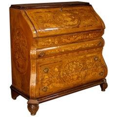Dutch Bureau in Inlaid Walnut, Burl Rosewood, Maple, Mahogany, Fruitwood