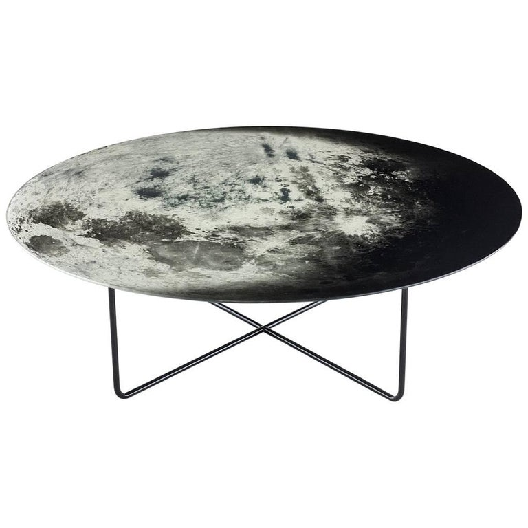 """My Moon My Mirror"" Printed Glass Mirror Coffee Table by Moroso for Diesel  For Sale"