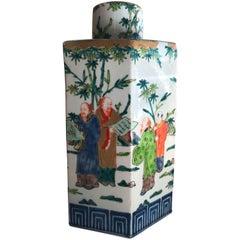 China Porcelain Vase Octagon with Large Decorative Paint, 1960