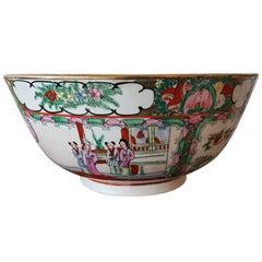 "Large Vintage Chinese Porcelain Bowl Marked ""Qianlong nian zhi"""