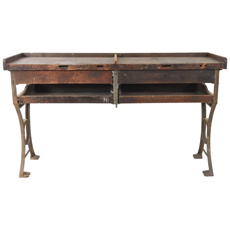 Antique Iron and Wood Industrial Workbench