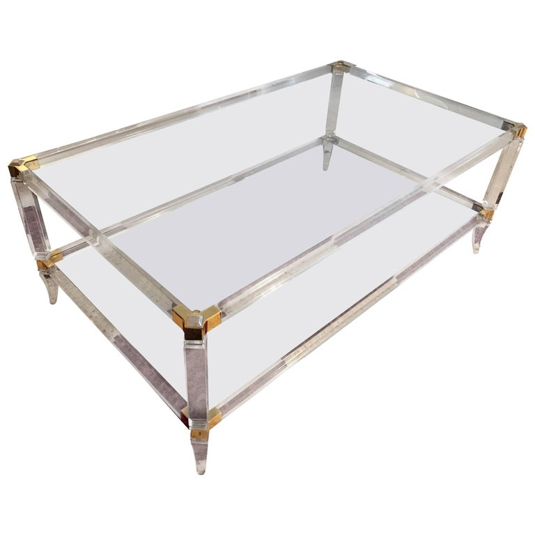 Lucite mid-century modern Coffee Table gilt brass French ,1960