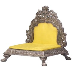 Indian Engraved Silver Chair with Silk Cushion