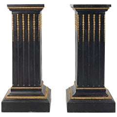 Set of Two Neoclassical Style Ebonized Wood and Gilt Bronze Pedestals