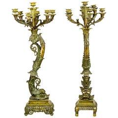 Belle Epoque Style Gilt Bronze Candelabra