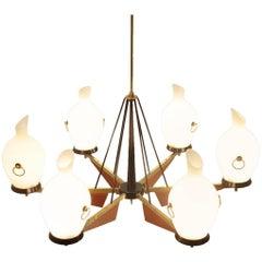 Italian Six Lights in Brass and Opaline Glass Chandelier, 1950s