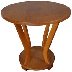 Early 20th Century, Circular Oak Art Deco Coffee Table or Side Table, 1920s