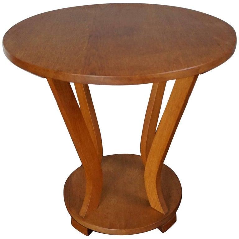 Early 20th century circular oak art deco coffee table or for Art deco coffee table