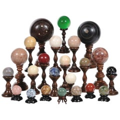 Set of 23 Collectible Marble and Stone Globes on Stands