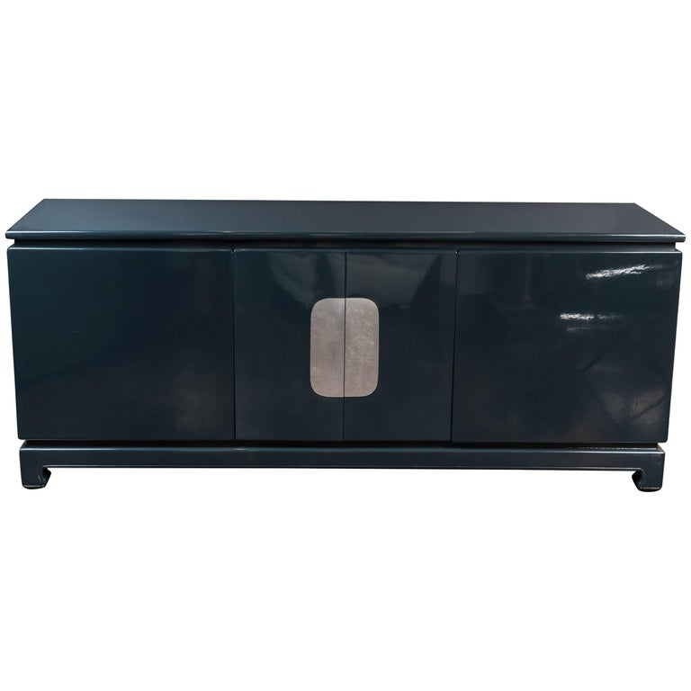 1980s Asian Influenced Lacquered Sideboard