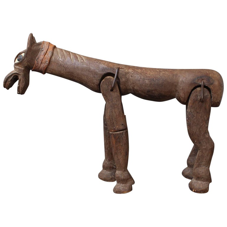 Antique Carved Wooden Horse Marionette, 19th Century