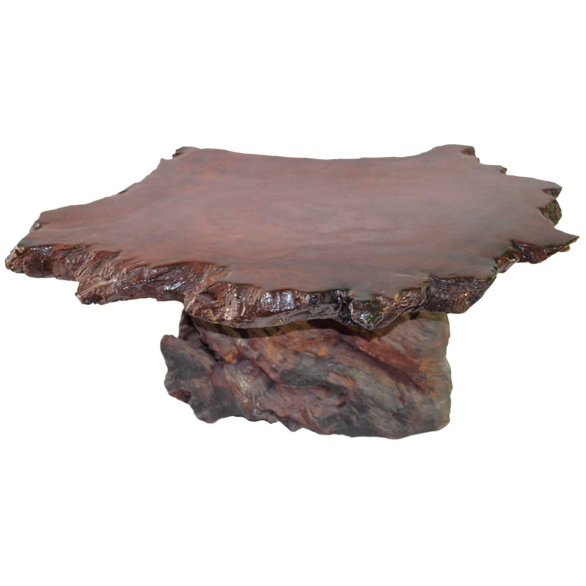 Beau Redwood Coffee Table For Sale
