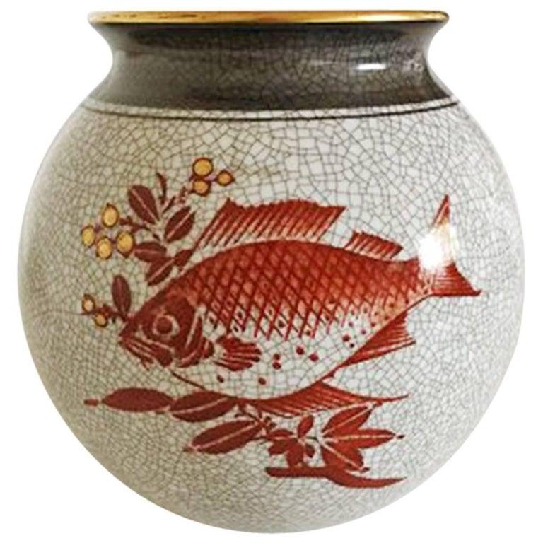 Bing & Grondahl Art Deco Vase in Crackle Glaze with Motif of Fish #1045/472/K