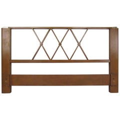 Paul Frankl Queen-Size Mahogany and Brass Headboard