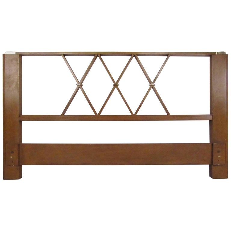 Paul Frankl Queen-Size Mahogany and Brass Headboard For Sale