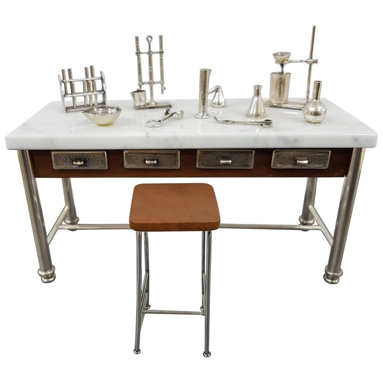 20th Century Italian Sterling Silver - Marble Miniature Chemist Worktable For Sale