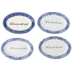 Vintage Blue Transferware Burnt Tablecloth Dishes