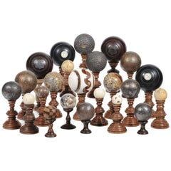 Set of 23 Collectible Crafted Globes in Stone and Marble