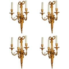 Regency Set Four French Gilt Doré Bronze Bow Top Flower Three-Light Sconces