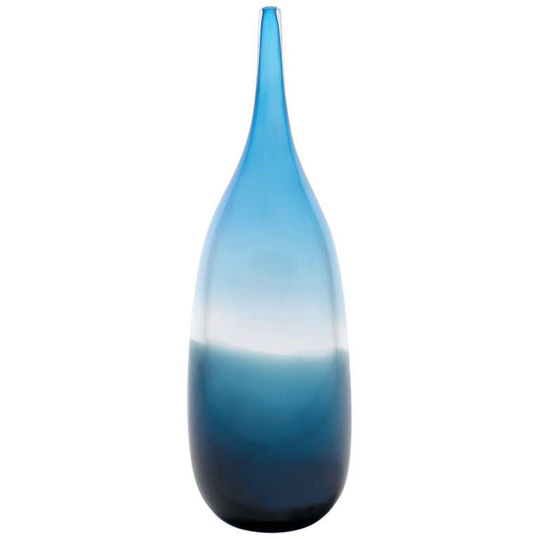 Two-Tone Aqua Steel Tall Blown Glass Bottle by California Designer Caleb Siemon