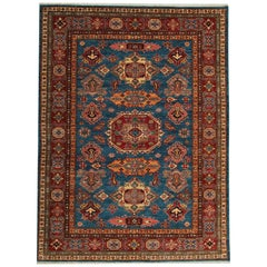 Afghan Blue Kazak Rugs, Carpet from Afghanistan