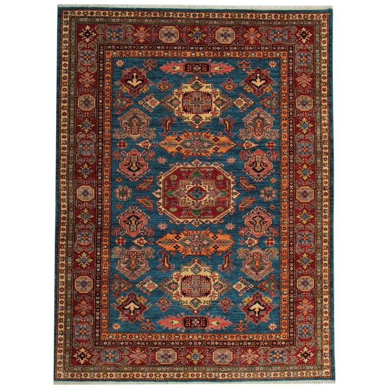 Afghan Blue Kazak Rugs, Carpet From Afghanistan For Sale