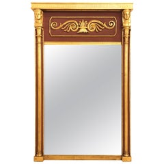 Russian Neoclassical Style Parcel Paint and Gilt Decorated Mirror