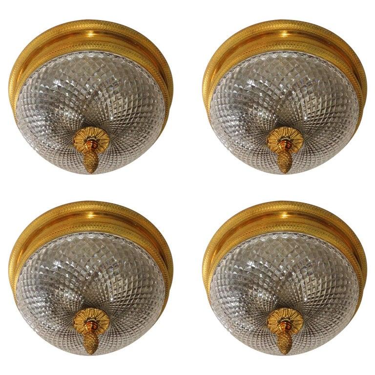 French Set Four Dore Bronze Cut Crystal Globe Flush Mount Chandeliers Fixtures