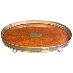 19th Century English Oak and Brass Gallery Tray