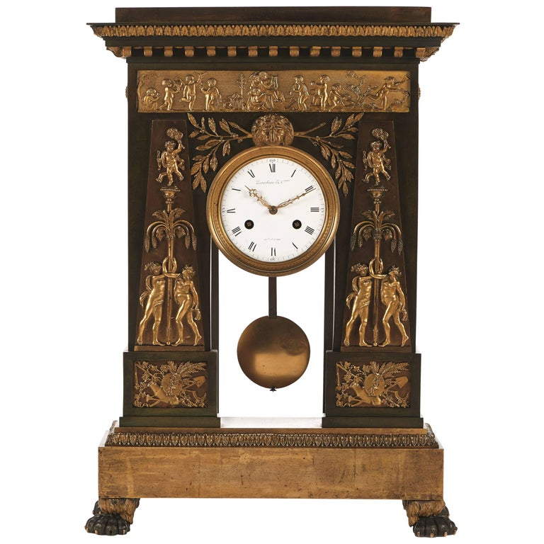 Jean-Simon Deverberie Gilt Bronze Relief Mantel Clock