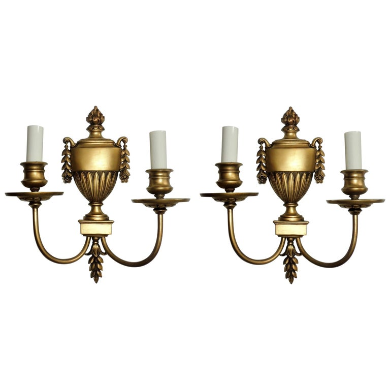 Wonderful Regency Neoclassical Pair Urn Form Bronze Empire E.F. Caldwell Sconces For Sale