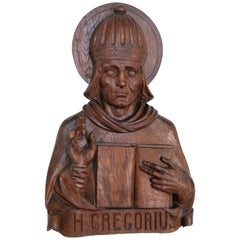 Religious Carving of Pope St. Gregory
