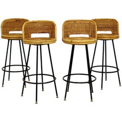 Mid-Century Modern Danny Ho Fong Set of Four Bamboo Rattan Barstools, 1960s
