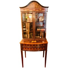 19th-Early 20th Century Edwardian Adams Inlaid Secretary Bookcase