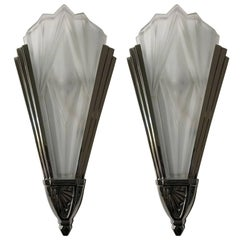 Beautiful Pair of French Art Deco Wall Sconces Signed by Degue