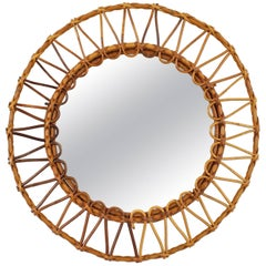 Spanish Mid-20th Century Bamboo and Wicker Circular Mirror