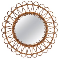 Vintage Mediterranean Rattan & Wicker Flower Shaped Circular Mirror Spain, 1960s