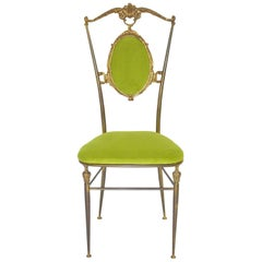 Mid Century Modern Chiavari Brass and Green Vintage Side Chair, 1950s, Italy