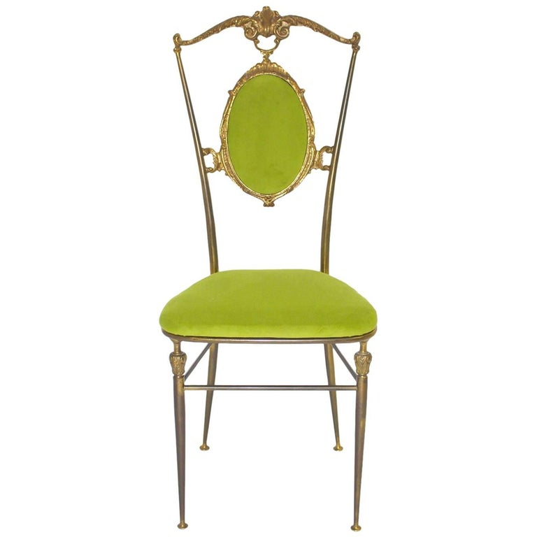 Chiavari Brass Side Chair, 1950s, Italy
