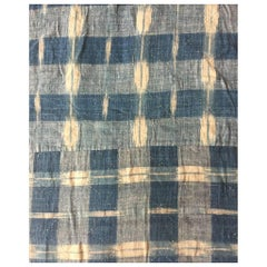 Antique Textile, Early 18th Century French Home Spun Indigo Dyed Linen Ikat #5