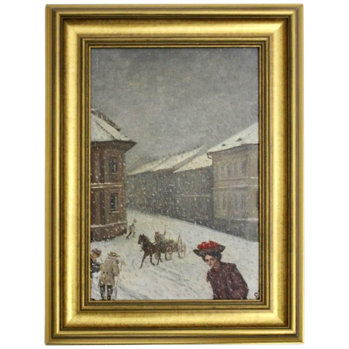Jugendstil Painting Wintertime in Vienna by Emil Fiala, 1906