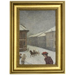 Jugendstil Painting Wintertime in Vienna by Emil Fiala, 1906