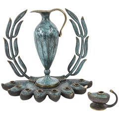 Maurice Ascalon Pal Bell Bronze Wreath Menorah