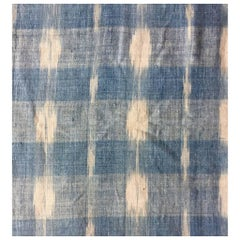 Antique Textile Early 18th Century French Home Spun Pale Blue Indigo Ikat #6