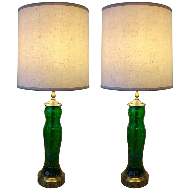 Pair of Iridescent Green Art Glass Table Lamps by Wilhelm Kralik, Art Nouveau