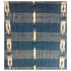 Antique Textile, Late 19th Century French Home Spun Indigo Dyed Linen Ikat #7