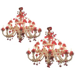 Pair of Sumptuous Murano Chandelier Red and Gold, 1980s
