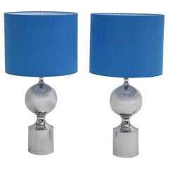 Mid Century Modern Chromed Table Lamps 1960s France with Blue Shades