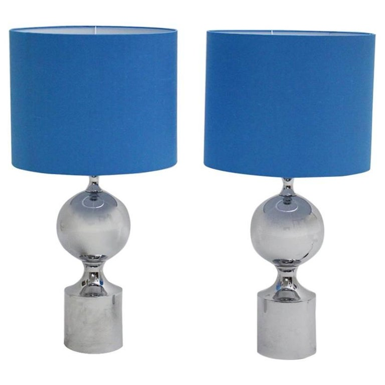 Chromed Table Lamps 1960s France with Blue Shades For Sale