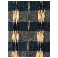 Antique Textile, 18th Century French Home Spun Indigo Dyed Linen Ikat #8